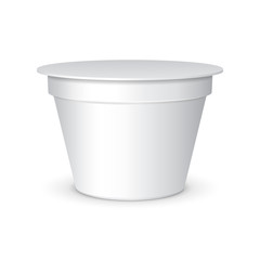 White Short And Stout Tub Food Plastic Container For Dessert