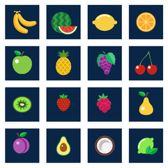 Vector set of fruit flat icons.