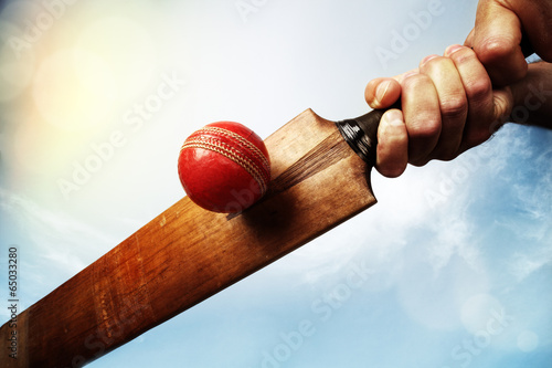 Cricket player hitting ball
