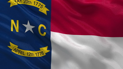 US state flag of North Carolina waving in the wind - loop
