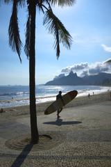Rio Surfboard Sunset Surfer Arpoador Brazil