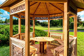 Inside of wooden gazebo