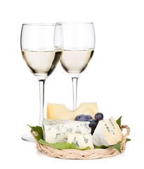 White wine, cheese and grape
