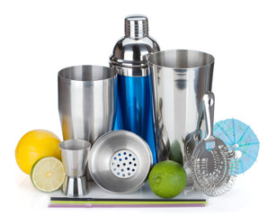 Cocktail shaker, strainer, measuring cup, drinking straws and ci