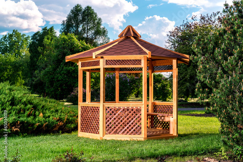 Outdoor wooden gazebo - 65034019