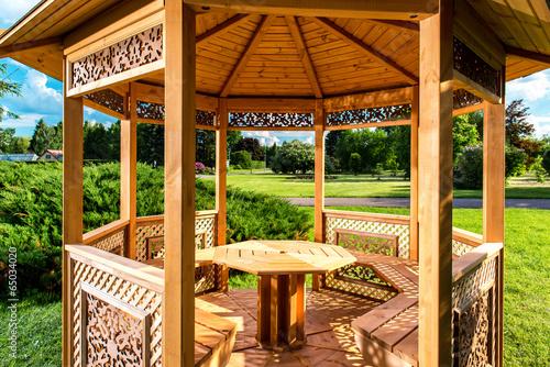 Inside of wooden gazebo - 65034020