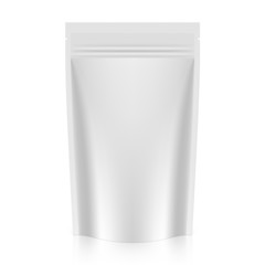 White blank stand up pouch foil or plastic packaging with zipper