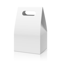 White blank hand cake, bread packaging paper bag