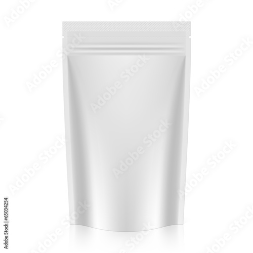 White blank stand up pouch foil or plastic packaging with zipper - 65034254