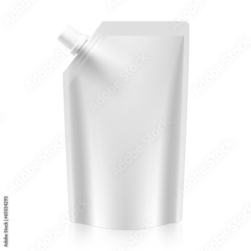 White blank spout pouch, bag foil or plastic packaging - 65034293