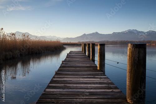 Leinwanddruck Bild Morgenstimmung am Chiemsee