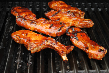 Barbequed Ribs Cooking on a Hot Summer Grill