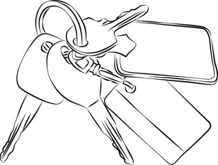 Sketched line drawing of a set of keys on a keyring or keychain