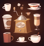 Fototapety Coffee objects. Vector image