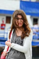 Portrait of traveling girl