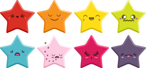Set of 8 super cute Kawaii stars with different expressions.