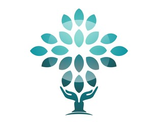 hand natural logo wellness yoga health icon tree zen