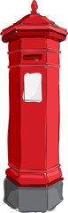 Sketched line drawing of a red British antique post or mail box.
