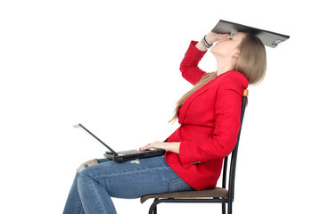 after hard work - woman relax on computer with file