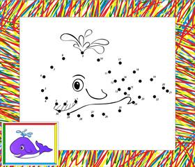Funny cartoon whale dot tot dot