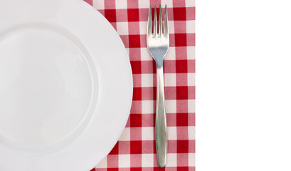 white plate and fork