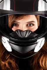 Closeup Portrait beautyful woman with helmet