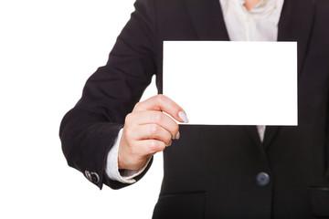 businesswoman showing blank