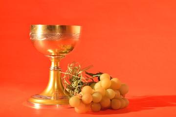 calice comunione e uva fondo rosso