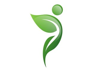 logo nature health,leaf symbol,active people icon natural