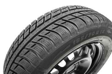 Winter Tyre with rim on white