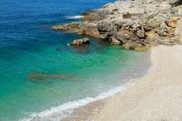 View of a beach in Pula, Croatia