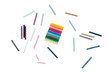oil pastels isolated on a white background