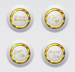 White gold metal buttons 3d