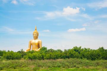 Big golden Buddha at Wat Muang of Ang Thong province Thailand