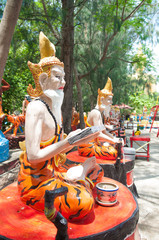 Ascetic statue at the temple, Thailand.