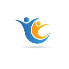Teamwork people logo image. Concept of care