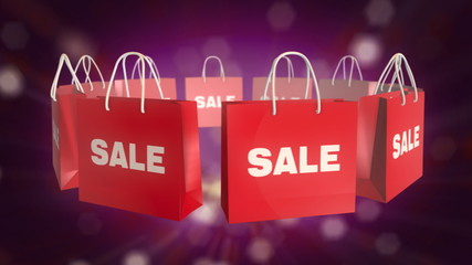 Red SALE Shopping Bag rotate on pink twinkle background