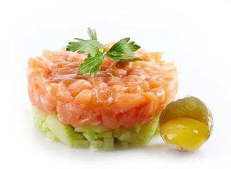fresh salmon and cucumber tartare