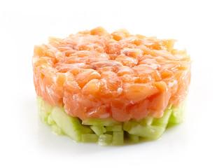 fresh salmon and cucumber tartare