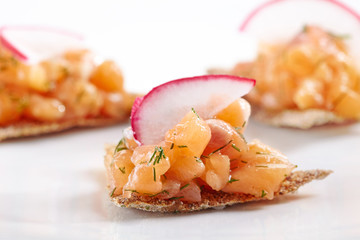 canapes with salmon tartare