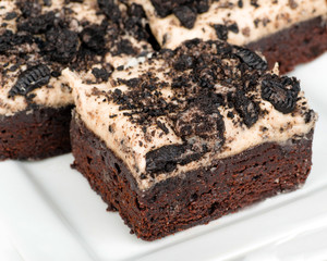 Cookies and cream brownies with topping made from Oreo cookies