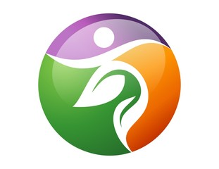 logo global icon nature health active symbol people leaf natural