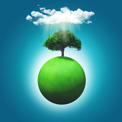 3D render of a grassy globe with a tree
