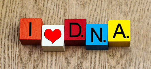 I Love DNA , sign for science, genetics, research and biology.