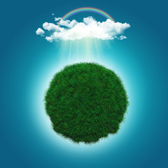3D render of a grassy globe with a rainbow and raincloud