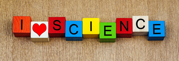 I Love Science - sign for discovery and knowledge.