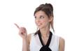Junge Frau lachend mit Zeigefinger isoliert