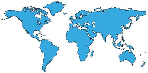 Weltkarte Welt Karte Atlas blau