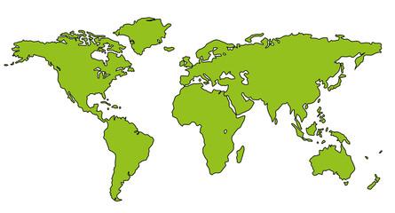 Weltkarte Welt Karte Atlas grün