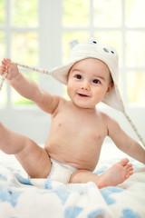 Happy baby with cap